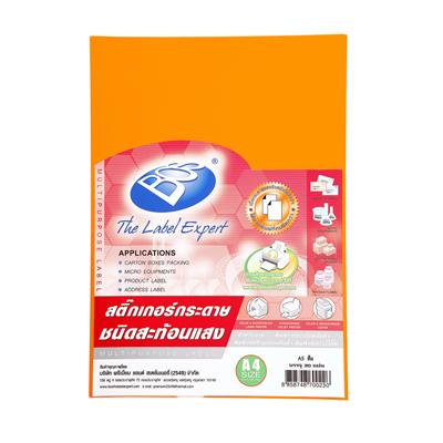 สติกเกอร์กระดาษสีสะท้อนแสง A4 150แกรม ส้ม (30แผ่น) A5 BOS