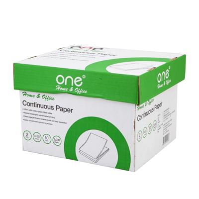 กระดาษต่อเนื่อง ไม่มีเส้น 9×5.5″ (2ชั้น) ONE
