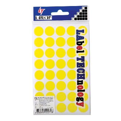 สติกเกอร์กระดาษสี 16 มม. เหลือง ลาเท็กซ์ C-302