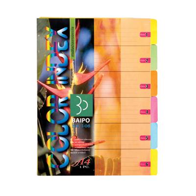 อินเด็กซ์กระดาษการ์ด A4 6 หยัก คละสี ใบโพธิ์