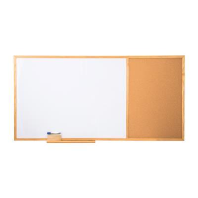 กระดานไวท์บอร์ดและบอร์ดไม้ก๊อกขอบไม้ 90x180 ซม. ONE