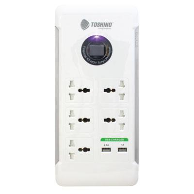 ปลั๊กไฟ 5 ช่อง + 2 USB  ขาว โตชิโน S9P525NV