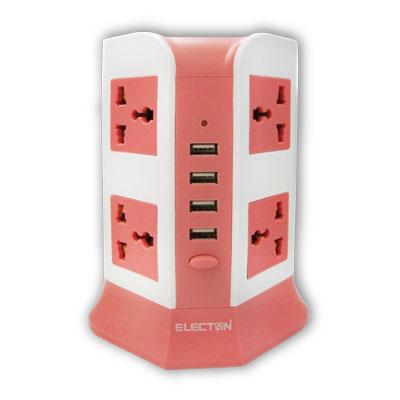 ปลั๊กไฟ 8 ช่อง 4USB ขาวชมพู Electon TE-6824USB-P