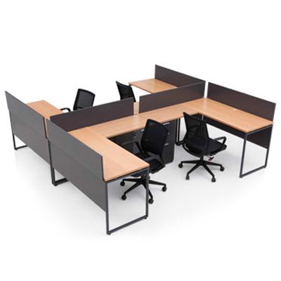 ชุดโต๊ะทำงาน บีช+เทาดำ เฟอร์ราเดค ML1416H+Shapex4